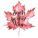 Autumn leave with lettering. Autumn Maple leaf with lettering, hand drawn illustration with watercolor Royalty Free Stock Image