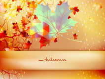 Autumn leave made of triangles. EPS 10 Stock Photo