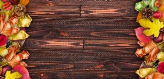 Autumn Leaves över en naturlig mörk träbakgrund Gammal smutsig trätabeller eller parkett fotografering för bildbyråer