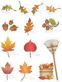 Autumn Leaves. Vector art in Illustrator 8. All things leaves and a rake and basket to clean them up. Design elements for your fall/autumn season projects. All Royalty Free Stock Image