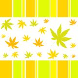 Autumn leaves. Autumn colored leaves and stripy border Stock Image