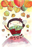 Autumn leaves. Handmade watercolor painting of a cute cartoon little girl dancing happy among colorful autumn leaves Royalty Free Stock Photos