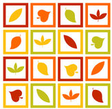 Autumn leaves. Colorful texture with autumn leaves in frames vector illustration