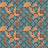 Autumn leaves. Vintage seamless pattern with leaves on geometric background Stock Image