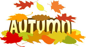 Autumn Leaves. Illustration of falling leaves with the headline Autumn Royalty Free Stock Image
