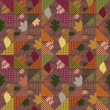 Autumn leaves abstract geometric pattern. With geometric trendy royalty free illustration