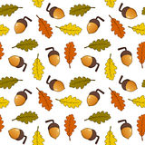 Autumn Leaves Acorns Seamless Pattern Stock Photos