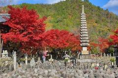 Autumn Leaves Of Adashino Nenbutsu-ji of Buddha statue Stock Photos