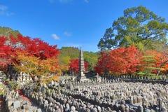 Autumn Leaves Of Adashino Nenbutsu-ji von Buddha-Statue Stockfotografie