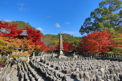 Autumn Leaves Of Adashino Nenbutsu-ji von Buddha-Statue Lizenzfreies Stockfoto