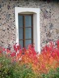 Autumn Leaves Against un fond de mur en pierre décoratif et de fenêtre Images libres de droits