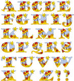 Autumn leaves alphabet - four seasons. Vector illustration of letters illustrating the fallen leaves of autumn Stock Photos