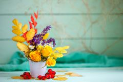 Autumn Leaves And Flowers On A Wooden Table. Autumn Background With Copy Space. Autumn Still Life. Royalty Free Stock Photo