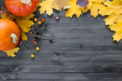 Free Autumn Leaves And Pumpkin Over Old Dark Wooden Background With Copy Space Royalty Free Stock Image - 160475196