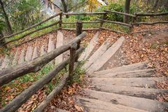 Free Autumn Leaves And Stairs Stock Photos - 134672863