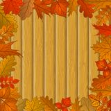 Autumn Leaves And Wooden Fence Stock Photos