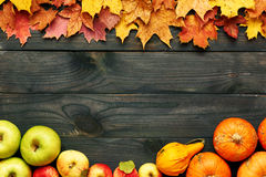 Autumn leaves, apples and pumpkins over wooden background Stock Image