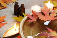 Autumn Leaves Aroma Bowl. With Oil and Candles Royalty Free Stock Photos