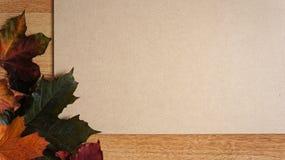 Autumn Leaves arranjou em um canto contra um fundo de madeira fotografia de stock royalty free