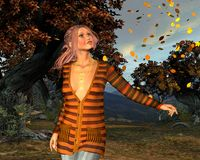 Autumn leaves in the autumn forest. 3D Illustration of a beautiful girl in the autumn forest Royalty Free Stock Image