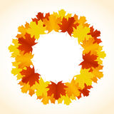Autumn leaves background. Autumn background with leaves wreath Stock Image