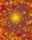 Autumn leaves background. A background of yellow orange brown and red autumn leaves with a sun Stock Photos