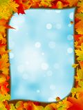 Autumn leaves with background of blue sky. EPS 8 Royalty Free Stock Images