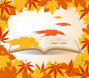 Autumn leaves background in the book.  Stock Photos