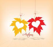 Autumn leaves background couple hearts Royalty Free Stock Photos