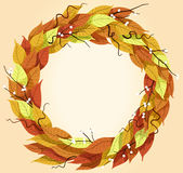 Autumn leaves Background Design. Autumn leaves form in round shape (vector file Stock Image
