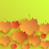 Autumn Leaves Background Design Pattern. Leaf and season nature, fall plant, maple foliage, brown bright, seasonal natural frame, pattern floral, autumnal Stock Image