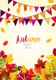 Autumn leaves background with party flags. Illustration of Autumn leaves background with party flags Royalty Free Stock Images