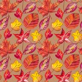 Autumn Leaves Background rouge et orange Illustration sans couture de modèle d'aquarelle Illustration Stock