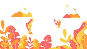 Autumn leaves background template vector illustration flat design vector illustration