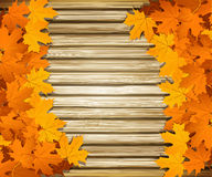 Autumn leaves on the background of a wooden wall Royalty Free Stock Photography