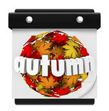 Autumn Leaves Ball Calendar Start Change Season Stock Image