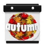 Autumn Leaves Ball Calendar Start-Veranderingsseizoen Stock Afbeelding