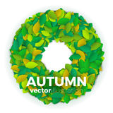 Autumn leaves banner. Summer or autumn leaves banner concept. Round shape wreath of colorful leaves with text block. Bright and stylish. Vector illustration Stock Photography