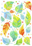 Autumn leaves. Beautiful watercolor colorful autumn leaves on white background Stock Illustration