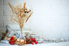 Autumn Leaves, Berries And Cones On A Wooden Table. Autumn Background. Stock Image