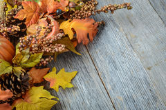 Autumn leaves and berry over wooden background Stock Photo