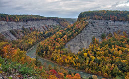 Autumn leaves at Big Bend in Letchworth State Park Stock Photo
