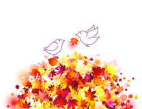 Autumn leaves and birds - romantic illustration. Concept: Love and care. Vector artistic background of a pair of cute little white birds in love, sitting on vector illustration