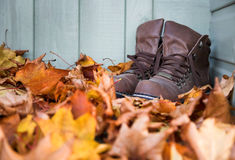 Autumn leaves and boots stock photography