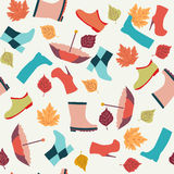 Autumn  leaves, Boots and Umbrellas Stock Image