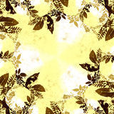 Autumn Leaves Border. Autumn leaves silhouette wreath border in grunge style background of brown and yellow and white with copy space Royalty Free Stock Photography