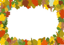 Autumn leaves border. Frame with illustration of many leaves in autumn colours. vector Royalty Free Stock Photos