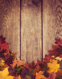 Autumn leaves border against wood background Stock Photography