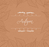 Autumn leaves border background retro Stock Photo