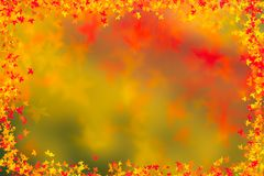 Autumn leaves border background. Thanksgiving concept. royalty free stock photography